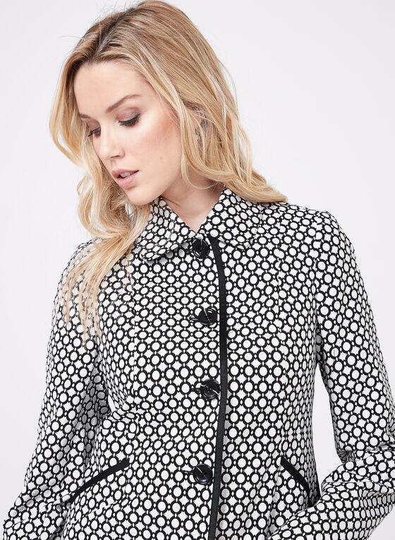 Novelti - Geometric Print Jacquard Coat, Black, hi-res