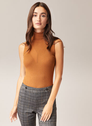 Sleeveless Turtleneck Sweater, Brown,  sweater, sleeveless, ribbed knit, turtleneck, fall winter 2020