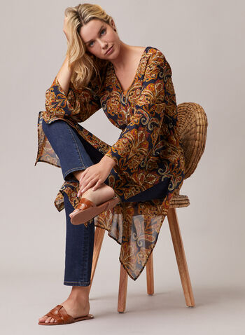 Paisley Print Button Front Tunic, Blue,  tunic, chiffon, paisley, drawstring, elastic, long sleeves, v-neck, spring summer 2020