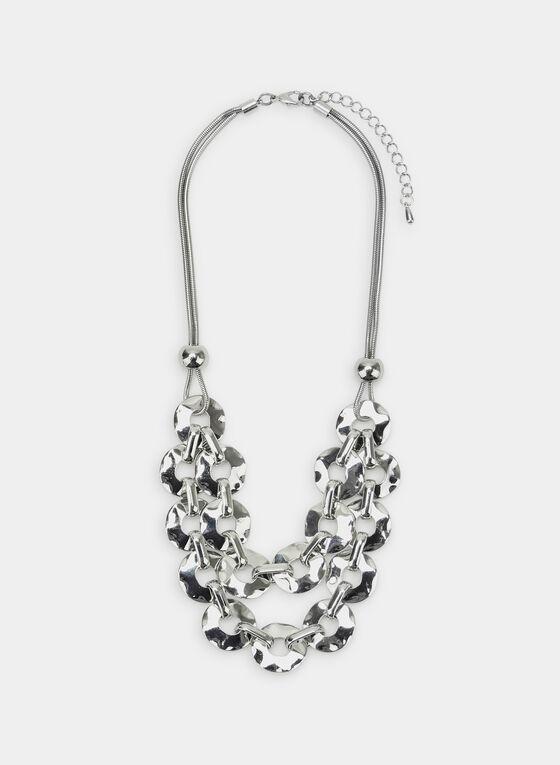 Double Chain Bib Necklace, Silver, hi-res