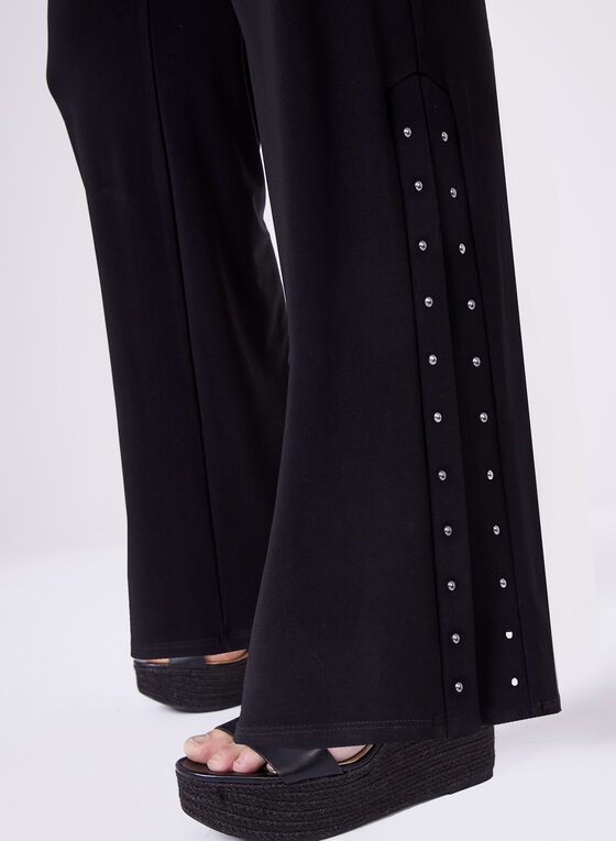 Studded Wide Leg Pants , Black, hi-res