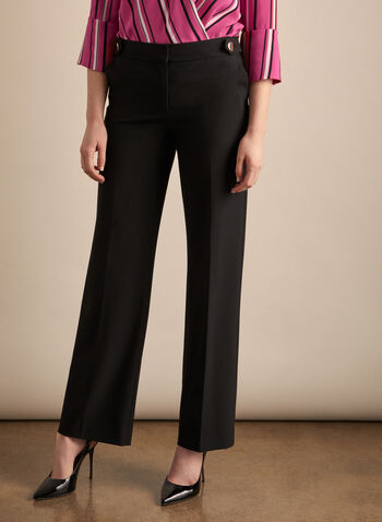 Button Detail Soho Pants, Black,  pants, soho, wide leg, button details, stretchy, spring summer 2020