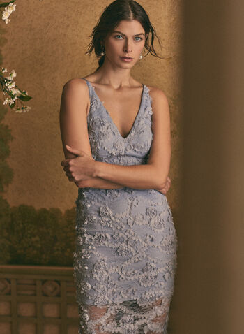 BA Nites - V-Neck Lace Dress, Blue,  evening dress, occasion, lace, floral appliqué, midi, spring summer 2020