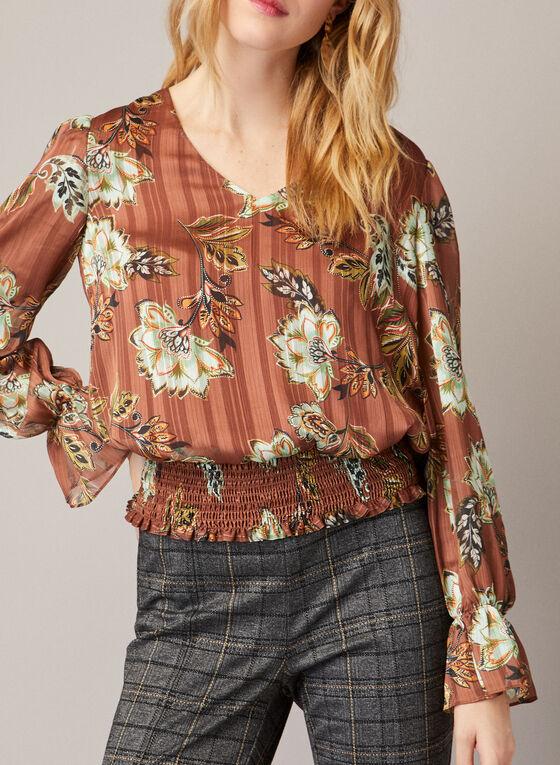 Floral Print Blouson Top, Brown
