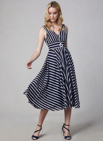 Eliza J - Stripe Print Midi Dress, Blue, hi-res,  stripes, stripe print, striped dress, sleeveless dress