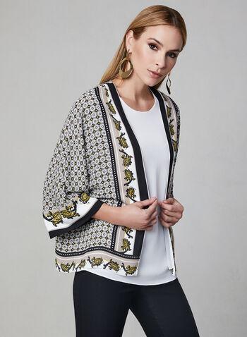 Open Front Kimono Blouse, Brown, hi-res,  ¾ sleeves, chiffon, paisley print, spring 2019