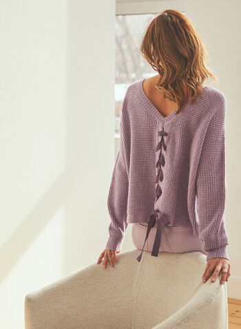 Vince Camuto - Ribbon Detail Waffle Knit Sweater, Purple,  sweater, knit, waffle, long sleeves, rib knit, bow, lace up, v-back, spring summer 2021