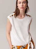 Linen Blend Knot Detail Blouse, Off White