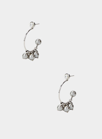 Open Hoop Cluster Earrings, Silver, hi-res,  open hoop earrings, stud, ball cluster, fall 2019