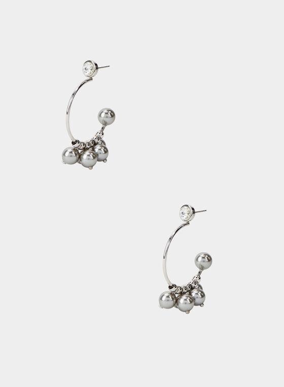 Créoles ajourées à perles et perles, Argent, hi-res