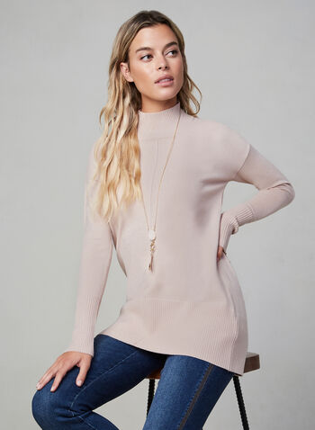 Turtleneck Knit Sweater, Pink, hi-res,  long-sleeve sweater