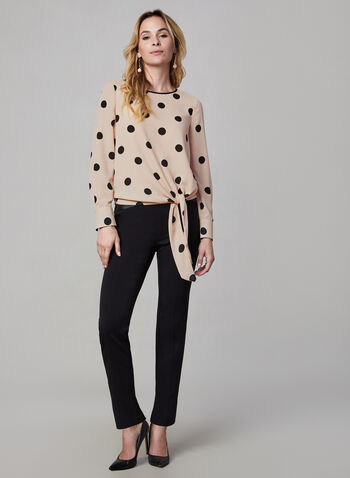 Long Sleeve Polka Dot Print Blouse, Multi, hi-res,  crew neck, polka dot print, polka dots, long sleeves, blouse, top, tie, fall 2019, winter 2019