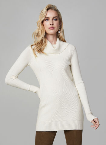 Cowl Neck Sweater, Off White, hi-res,  knit, sweater, long sleeves, cowl neck, tunic, fall 2019, winter 2019