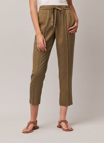 Emma Fit Tencel Pants, Green,  pants, tencel, emma, peg leg, tapered, ankle length, drawstring, pull-on, grommets, pleats, spring summer 2020