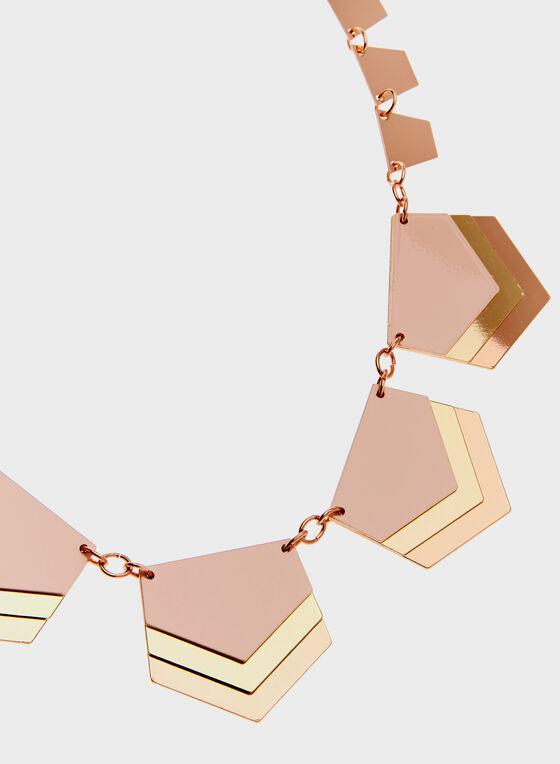 Collier géométrique à 3 tons, Rose, hi-res