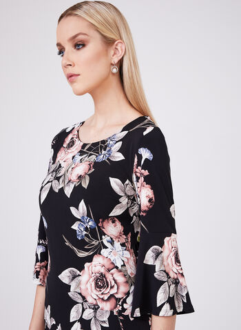Frank Lyman - Ruffle Sleeve Floral Dress , Black, hi-res