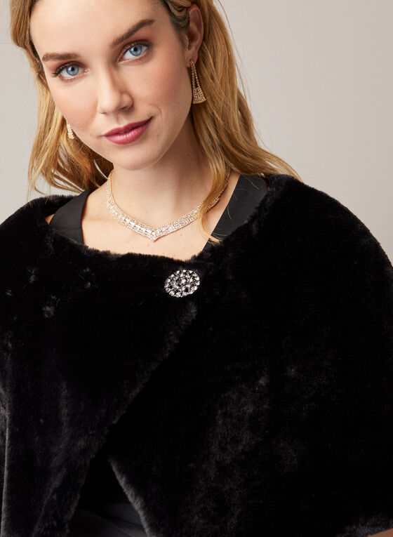 Faux Fur Stole With Brooch, Black