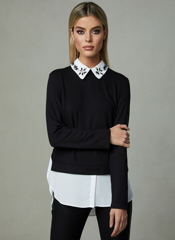 Frank Lyman - Removable Collar Fooler Blouse, Black, hi-res