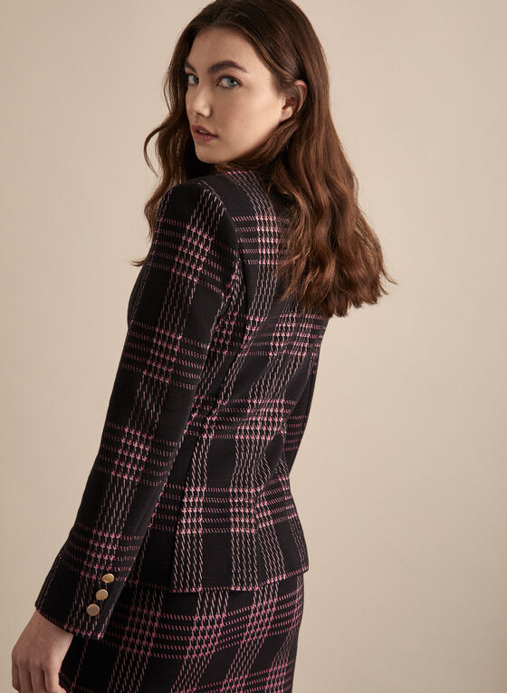 Plaid One-Button Blazer, Black