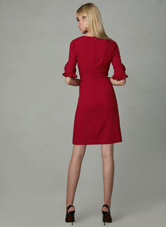 Karl Lagerfeld Paris - Elbow Sleeve Crepe Dress, Red, hi-res