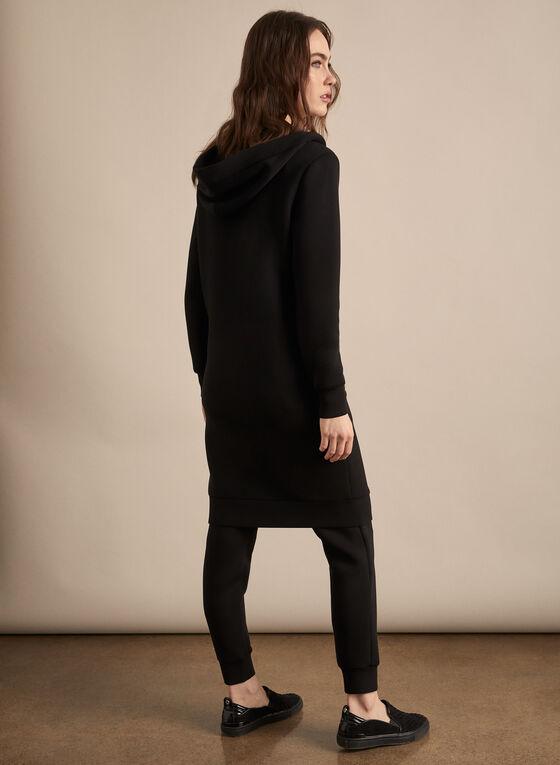 Veste longue à capuchon, Noir