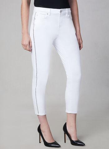 Crystal Detail Capri Jeans, White, hi-res,  capri pants, jeans, spring 2019
