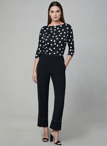 Polka Dot Print ¾ Sleeve Top, Black, hi-res