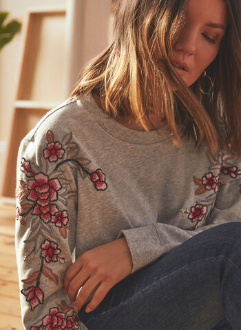 Vince Camuto - Floral Embroidered Sweater Knit Top, Grey,  top, floral, embroidered, terry, knit, sweater, long sleeves, spring summer 2021