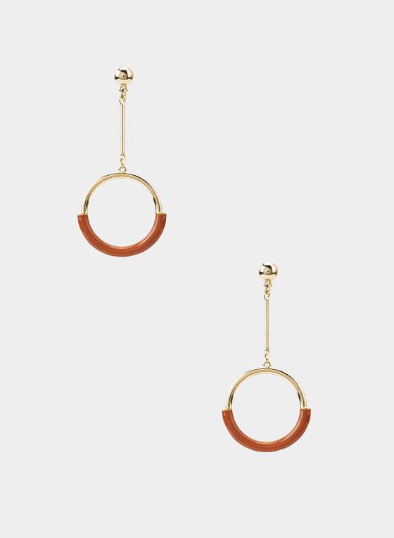 Boucles d'oreilles à pendants circulaires, Brun