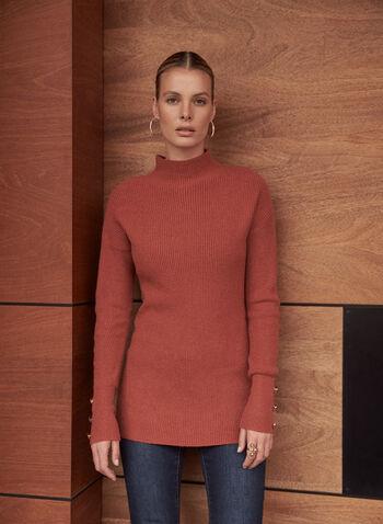 Pull tunique à col montant, Beige,  automne hiver 2020, pull, tunique, tricot, texturé, manches longues, col montant