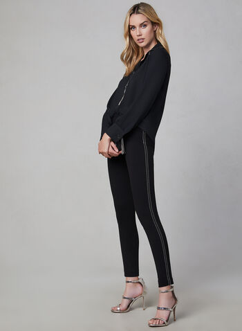 Ponte de Roma Slim Leg Pants, Black, hi-res,  pants, slim leg, pull on, elastic waist, Ponte de Roma, fall 2019, winter 2019