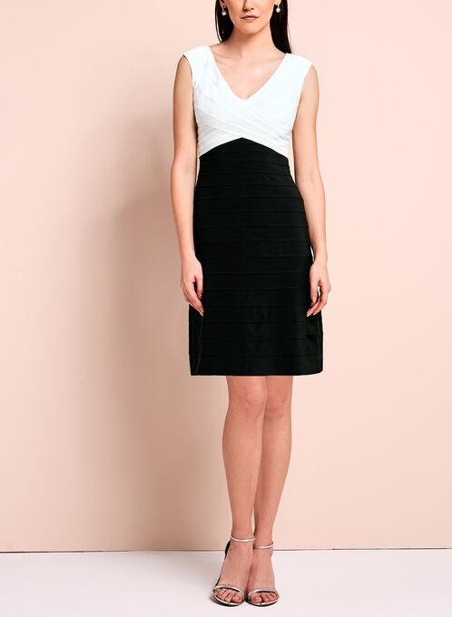 Adrianna Papell Contrast Shutter Dress, Black, hi-res