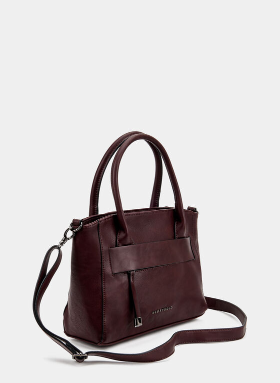 Faux Leather Satchel, Red, hi-res