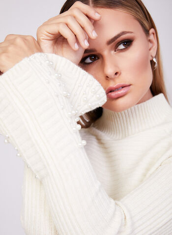 Rib Knit Turtleneck Sweater, Off White, hi-res