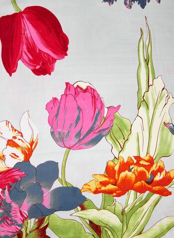 Foulard à imprimé jardin, Rose, hi-res,  fleurs, floral, printemps 2019, tulipes