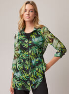 Joseph Ribkoff - Tropical Print Front Zip Tunic, Black
