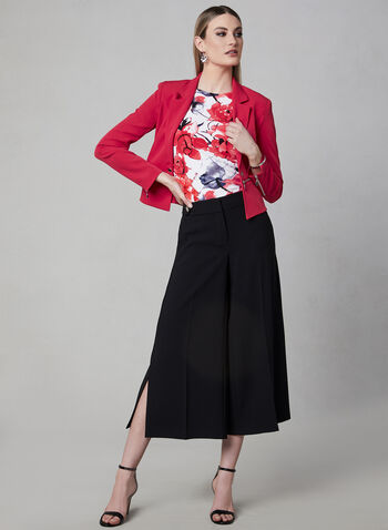 Floral Print Jersey Top, Red, hi-res,  cap sleeves, spring 2019,. ruching, pleated, short sleeves