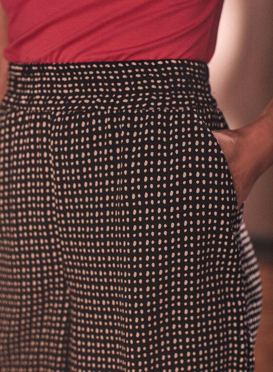 Dot Print Pull-On Shorts, Black