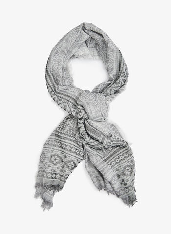 Folk Art Jacquard Print Wrap, Grey, hi-res