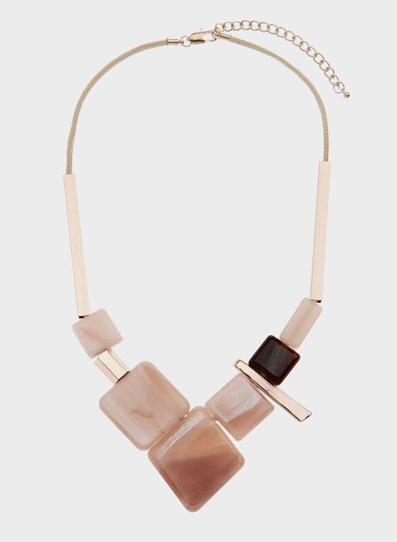 Geometric Lucite Necklace, Pink, hi-res