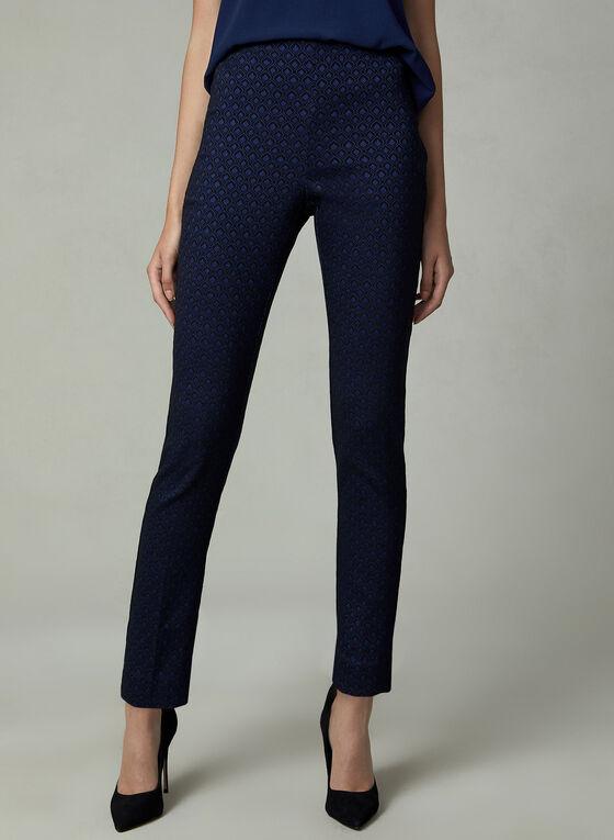 Geometric Print Jacquard Pants, Black, hi-res