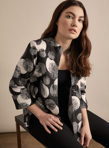 Joseph Ribkoff - Asymmetric Dot Print Jacket, Black,  jacket, asymmetric hem, 3/4 sleeves, large button, joseph ribkoff, spring 2020