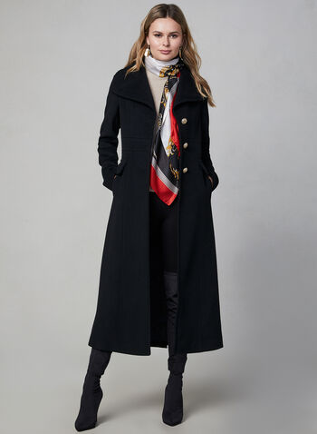 Karl Lagerfeld Paris - Military Wool Coat, Black, hi-res,  coat, wool, wool coat, long coat, designer coat, button coat, karl lagerfeld, winter 2019, fall 2019