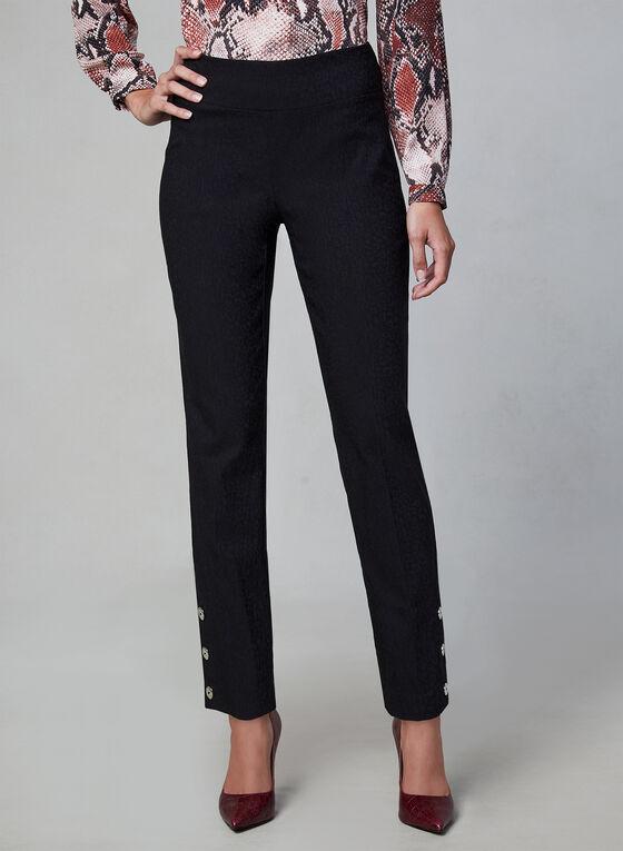Pantalon pull-on à détails boutons, Noir, hi-res