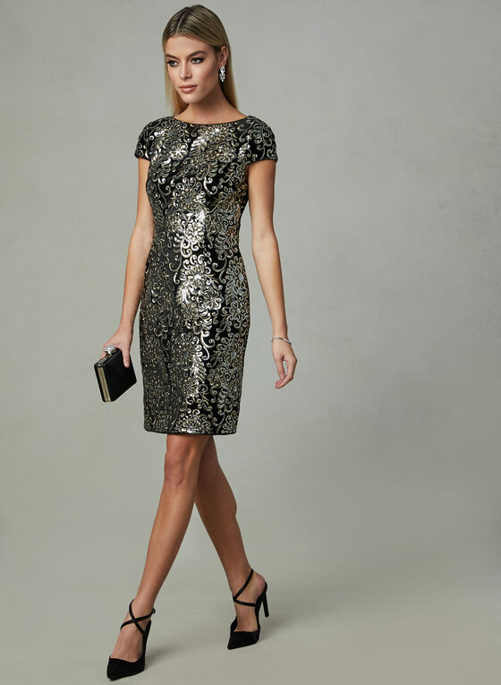 Adrianna Papell - Floral Sequin Dress, Black, hi-res