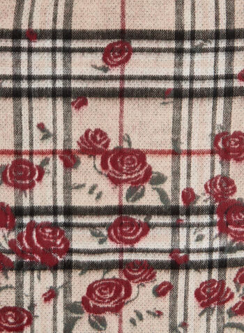 Mixed Floral & Plaid Print Scarf, Brown,  scarf, plaid print scarf, plaid print, floral print, floral print scarf, fall 2019, winter 2019