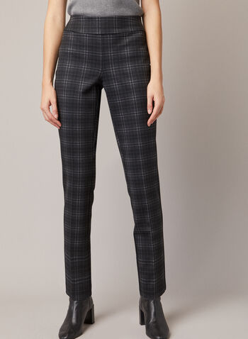 Tartan Print Madison Pants, Black,  fall winter 2020, pants, pull-on, elastic waist, tartan