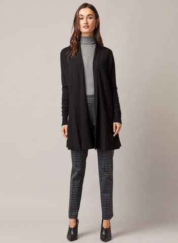 Houndstooth Print Madison Pants, Grey,  pants, pull-on, madison, slim, houndstooth, pleats, ponte di roma, fall winter 2020