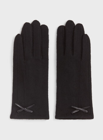 Faux Leather Detail Wool Gloves, Black, hi-res