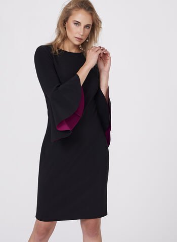 Cachet - Two-Tone Ruffle Sleeve Dress, Black, hi-res